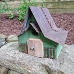 HOUSES NATURE CREATIONS BARN WOOD HANGING HOUSE W/TIN ROOF #28 GREEN