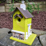 HOUSES NATURE CREATIONS BARN WOOD BIRD HOUSE W/TIN ROOF #52 LIME GREEN