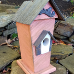 HOUSES NATURE CREATIONS BARN WOOD BIRD HSE W/TIN ROOF #47 CORAL