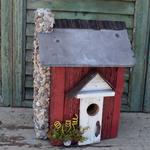 HOUSES NATURE CREATIONS BARN WOOD BIRD HOUSE W/SLATE ROOF #31 RED