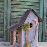 HOUSES NATURE CREATIONS BARN WOOD HANGING HOUSE W/TIN ROOF #26 NATURAL