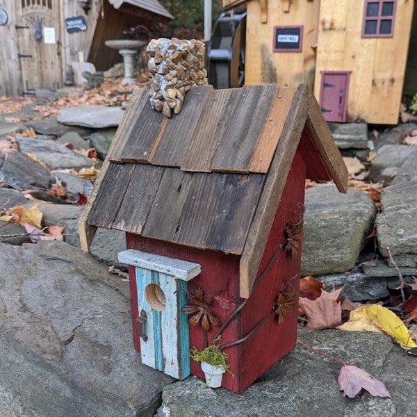 HOUSES NATURE CREATIONS BARN WOOD RUSTIC COTTAGE W/WOOD ROOF #07 RED