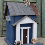 HOUSES NATURE CREATIONS BARN WOOD BIRD HOUSE TIN ROOF #54 BLUE