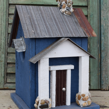 HOUSES NATURE CREATIONS BARN WOOD BIRD HOUSE TIN ROOF #54 BLUE