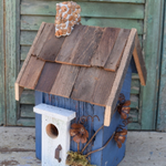HOUSES NATURE CREATIONS BARN WOOD RUSTIC COTTAGE W/WOOD ROOF #07 BLUE