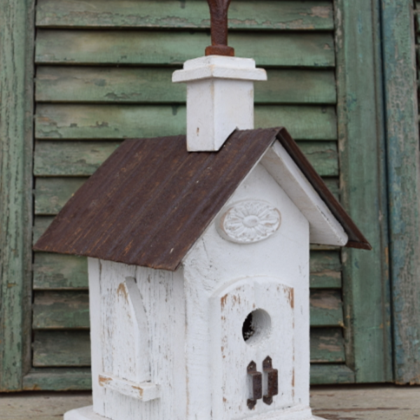 HOUSES NATURE CREATIONS BARN WOOD BIRD HOUSE CHURCH HOUSE #36 WHITE