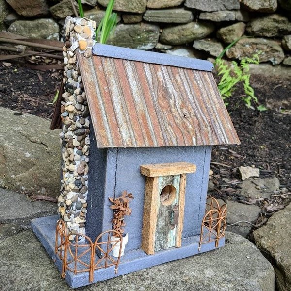 HOUSES NATURE CREATIONS BARN WOOD HOUSE W/TIN ROOF #08 CHARCOAL