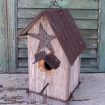 HOUSES NATURE CREATIONS BARN WOOD BIRD HSE #12 NATURAL W/TIN STAR