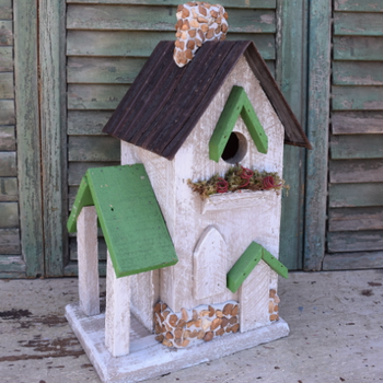 HOUSES NATURE CREATIONS BARN WOOD BIRD HOUSE #14 WHITE W/GREEN ROOF