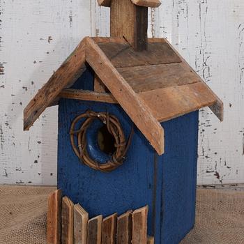 HOUSES NATURE CREATIONS BARN WOOD BIRD HOUSE #19 BLUE