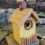 HOUSES NATURE CREATIONS BARN WOOD BIRD HOUSE #19 YELLOW
