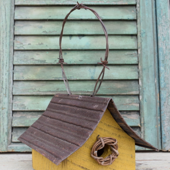 HOUSES NATURE CREATIONS BARN WOOD HANGING WREN HSE W/TIN ROOF #40 MUSTARD