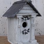 HOUSES NATURE CREATIONS BARN WOOD BIRD HOUSE W/SLATE ROOF #72 WHITE