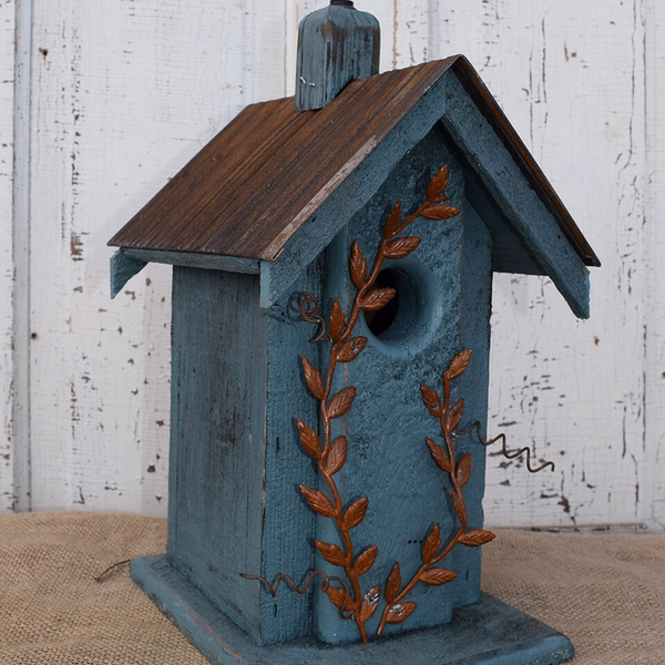 HOUSES NATURE CREATIONS BARN WOOD BIRD HOUSE W/TIN ROOF #04 STEEL BLUE