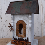 HOUSES NATURE CREATIONS BARN WOOD BIRD HOUSE WHITE W/SLATE ROOF #06 WHITE