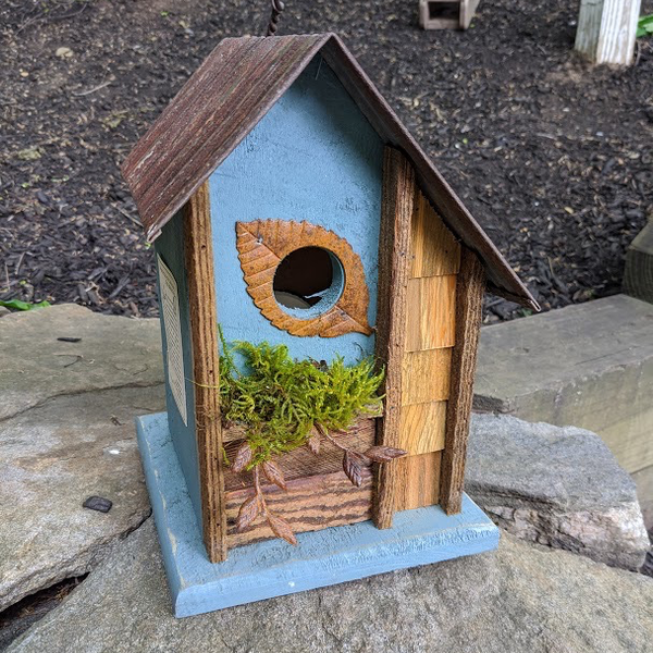 HOUSES NATURE CREATIONS BARN WOOD HANGING HOUSE W/TIN ROOF #69 STEEL BLUE