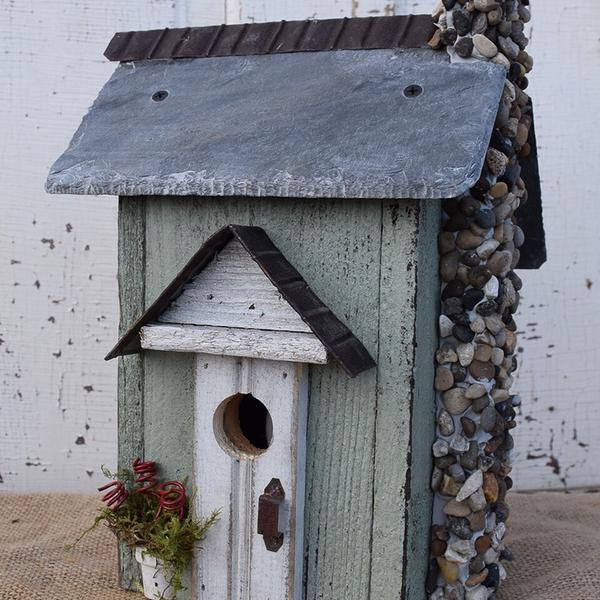 HOUSES NATURE CREATIONS BARN WOOD BIRD HOUSE W/SLATE ROOF #31 SAGE