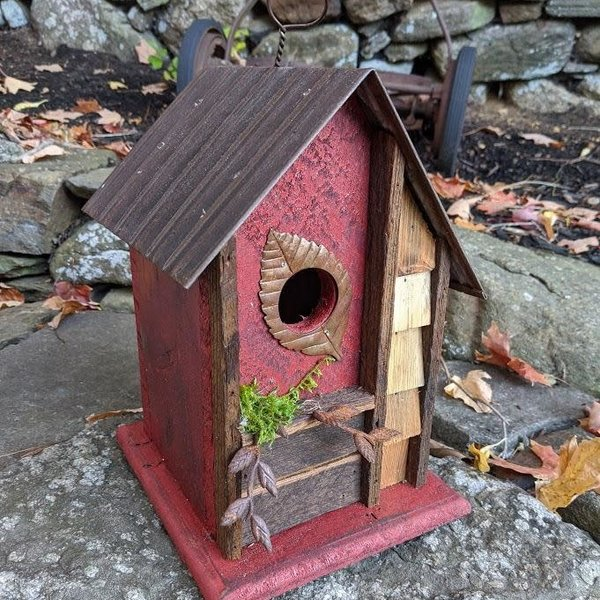 HOUSES NATURE CREATIONS BARN WOOD HANGING HOUSE W/TIN ROOF #69 RED
