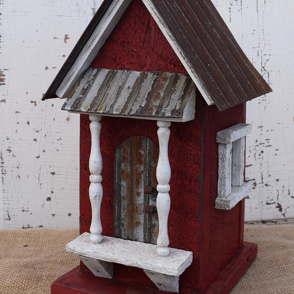 HOUSES NATURE CREATIONS BARN WOOD BIRD HOUSE W/TIN ROOF #39 RED
