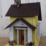 HOUSES NATURE CREATIONS BARN WOOD BIRD HOUSE TIN ROOF #54 YELLOW