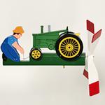 GARDEN WALSTON WOODCRAFT ANTIQUE GREEN TRACTOR WHIRLYGIG