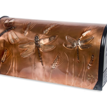 "HHOLD GREG HENTZI COPPER ETCHED MAILBOX  ""DRAGONFLIES"""