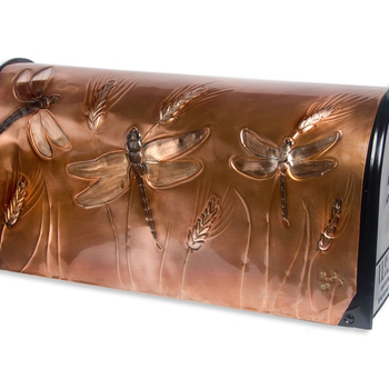 """HHOLD GREG HENTZI COPPER ETCHED MAILBOX  """"DRAGONFLIES"""""""