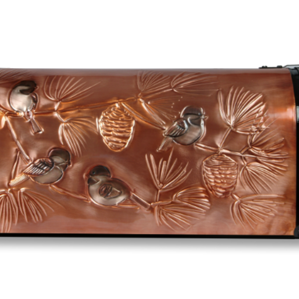 """HHOLD GREG HENTZI COPPER ETCHED MAILBOX """"CHICKADEE AND PINE BOUGHS"""""""