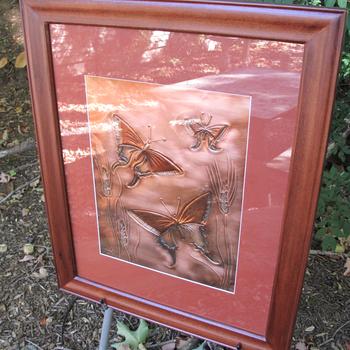 """ART/JEWELRY GREG HENTZI FRAMED COPPER ETCH. """"WHEAT & BUTTERFLIES"""""""