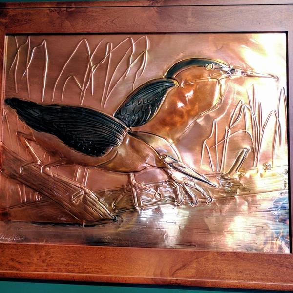 "ART/JEWELRY GREG HENTZI FRAMED COPPER ETCH. ""GREEN HERONS ON THE MARSH"""