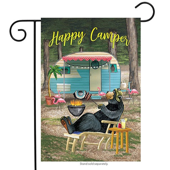 GARDEN BRIARWOOD LANE HAPPY CAMPER BEAR GARDEN FLAG