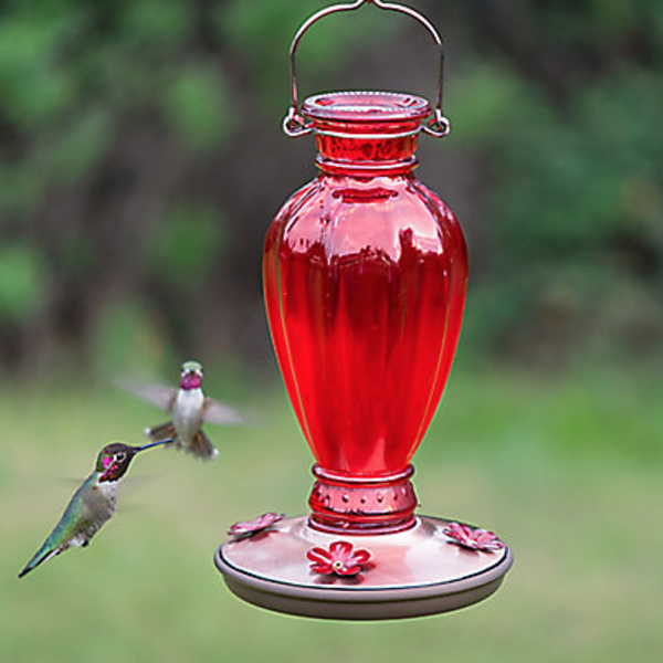 FEEDERS PERKY PET RED DAISY VASE VINTAGE HUMMINGBIRD FEEDER