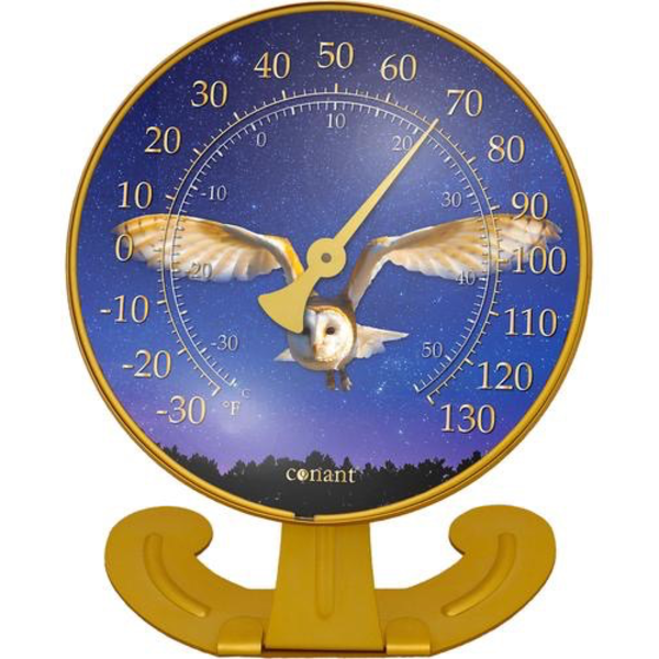 WEATHER CONANT BRASS CONVERTABLE BARN OWL THERMOMETER CCBT10OWL
