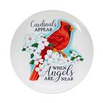 "BATHS EVERGREEN CARDINALS APPEAR CERAMIC BIRD BATH 16"" STAND NOT INCLUDED"
