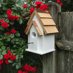 HOUSES WOODEN EXPRESSION RUSTIC CABIN CHICKADEE/WREN HOUSE DL17 WHITE