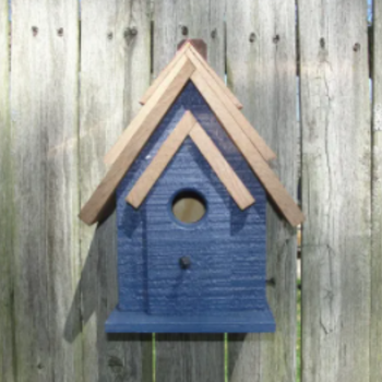 HOUSES WOODEN EXPRESSION RUSTIC CABIN CHICKADEE/WREN HOUSE BLUE