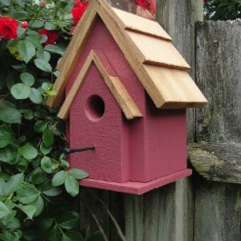 HOUSES WOODEN EXPRESSION RUSTIC CABIN CHICKADEE/WREN HOUSE RED