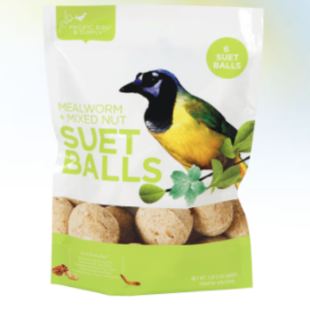 FEED PACIFIC BIRD MEALWORM & MIXED NUT SUET BALLS 6PK