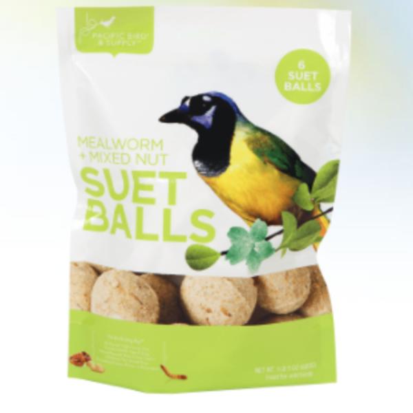 FEED PACIFIC BIRD MEALWORM & MIXED NUT SUET BALLS 6PK