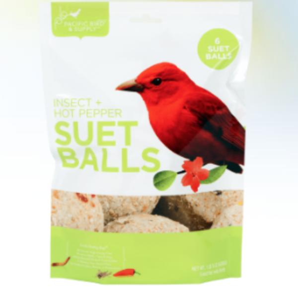 FEED PACIFIC BIRD INSECT & HOT PEPPER SUET BALLS 6PK