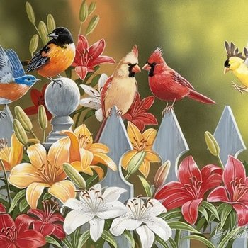 PUZZLES SUNS OUT PUZZLES BIRDS ON A FENCE 300 PC