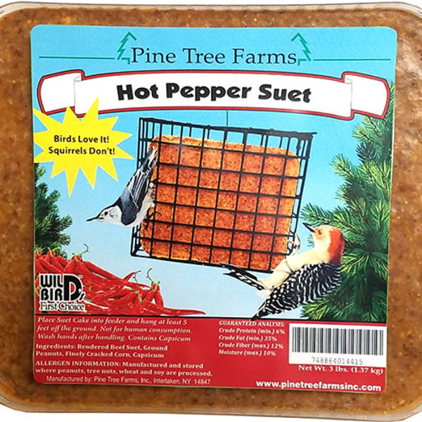 FEED PINE TREE FARMS 3LB HOT PEPPER SUET CAKE