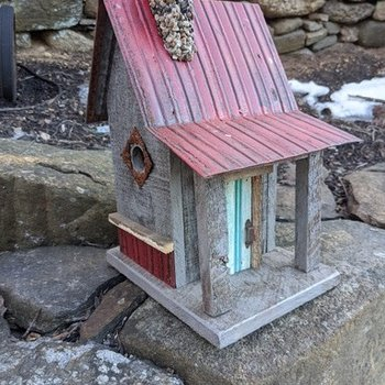 HOUSES NATURE CREATIONS BARN WOOD CABIN W/TIN ROOF #09 BROWN W/RED ROOF