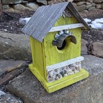 HOUSES NATURE CREATIONS BARN WOOD BIRD HSE W/TIN ROOF #55 LIME GREEN
