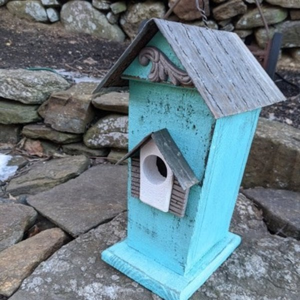 HOUSES NATURE CREATIONS BARN WOOD BIRD HSE W/TIN ROOF #47 TEAL