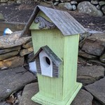 HOUSES NATURE CREATIONS BARN WOOD BIRD HSE W/TIN ROOF #47 MINT GREEN