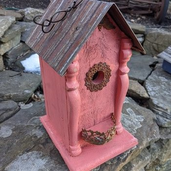 HOUSES NATURE CREATIONS BARN WOOD BIRD HOUSE W/TIN ROOF #56 CORAL