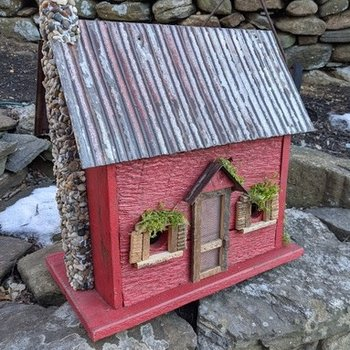HOUSES NATURE CREATIONS BARN WOOD BIRD HOUSE W/TIN ROOF #10 RED