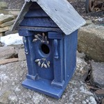 HOUSES NATURE CREATIONS BARN WOOD BIRD HOUSE W/SLATE ROOF #72 NAVY