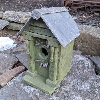 HOUSES NATURE CREATIONS BARN WOOD BIRD HOUSE W/SLATE ROOF #72 GREEN